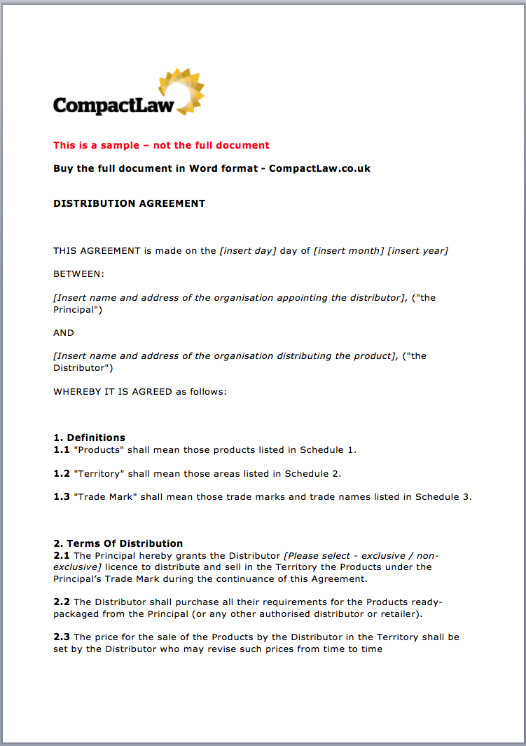 Distribution Agreement Page 1