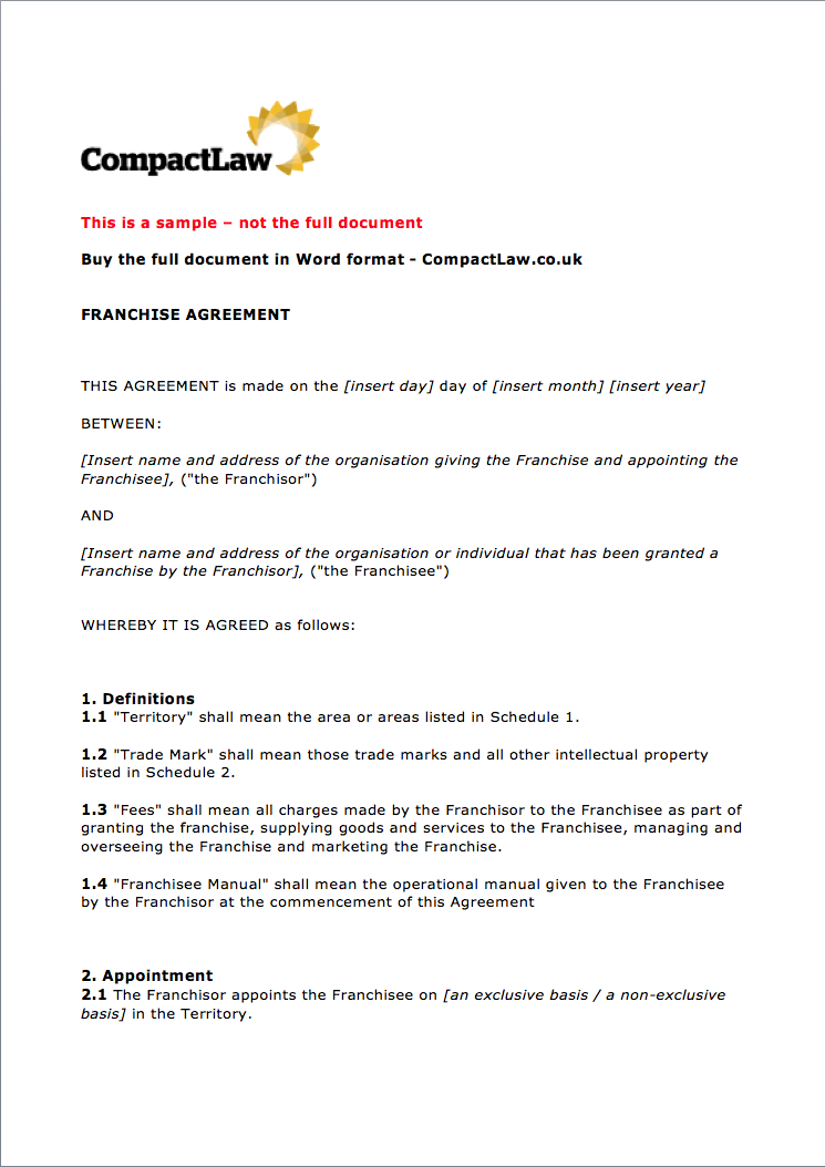 Sample Franchise Agreement Page 1