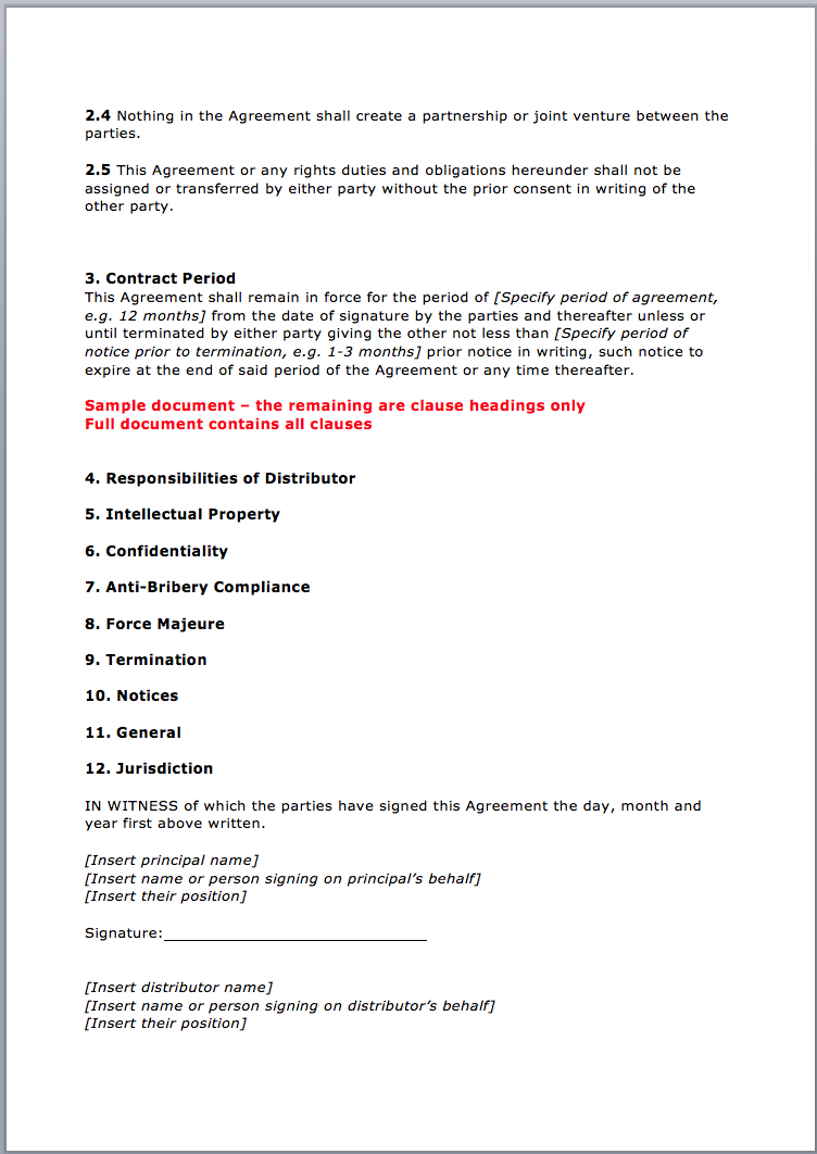 Page 2 Distribution Agreement