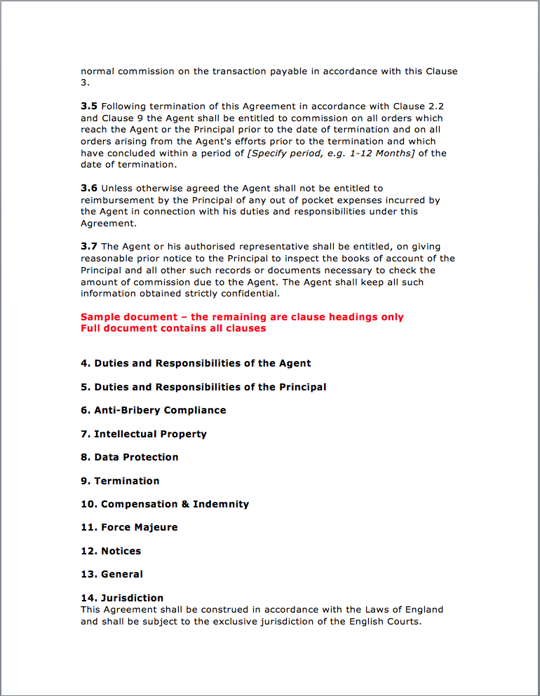Page 3 Agency Agreement