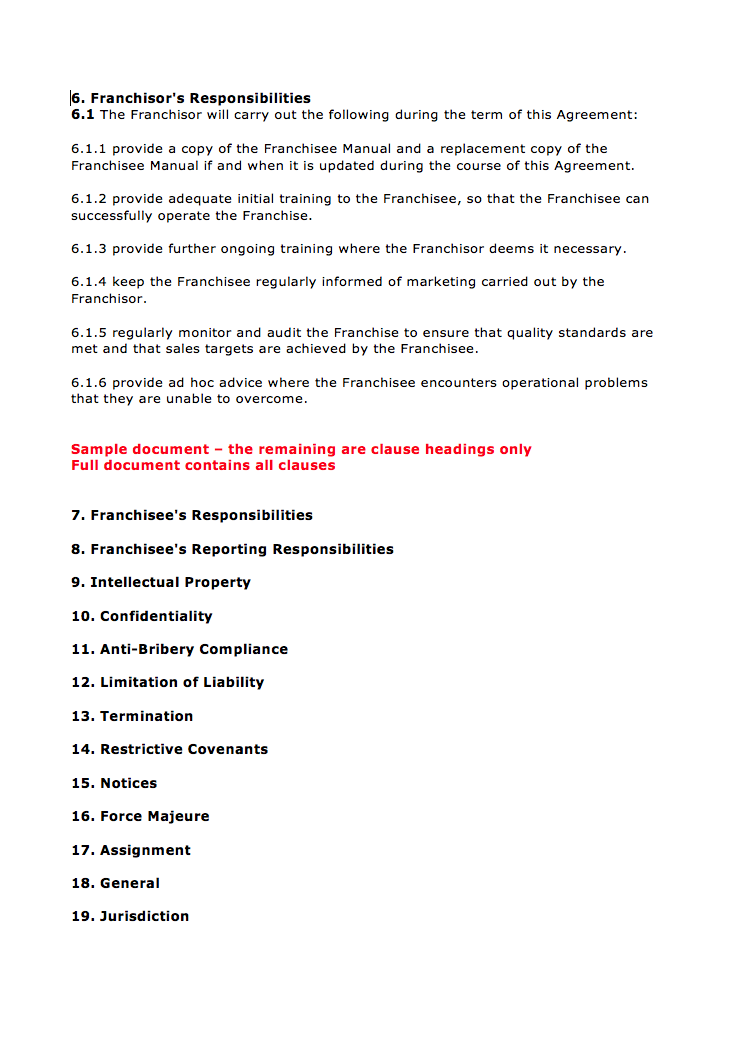 Page 3 Franchise Agreement