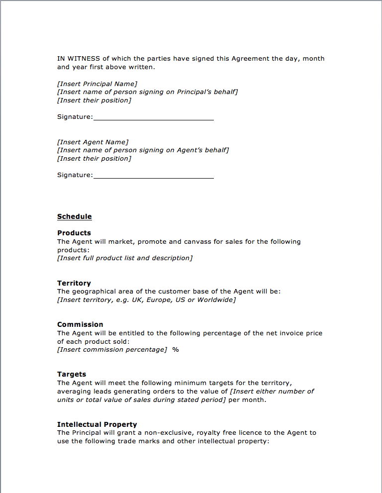 Page 4 Agency Agreement